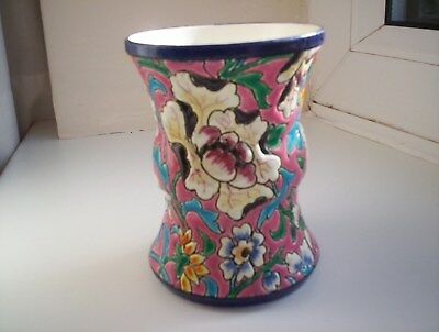 Longwy Multi Coloured Enamel Pottery Vase