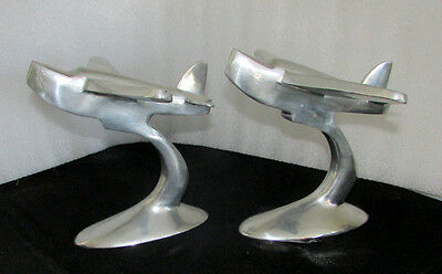 Vintage Pair Of Art Deco Aviation Airplane Book Ends  Solid Cast Aluminum