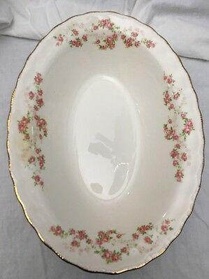 "Vtg. 9"" Florence Pope Gosser ""OVAL SERVING BOWL"" Pink Flowers w/Gold Accents"