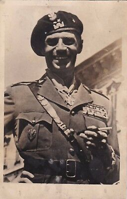 Old Photo Man Military Uniform Beret Cap Badge Cigarette Holder