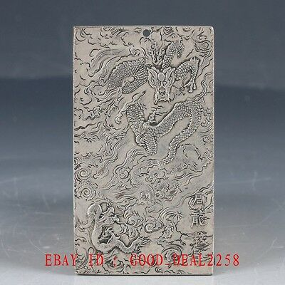 Chinese Collection Tibet Silver Hand Carved Dragon Predant YP06