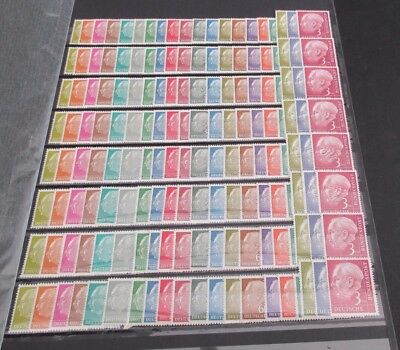 GERMANY WEST - 8 x 1954 HEUSS DEFINITIVE SET - SMALL FORMAT -  FINE MNH CAT £480