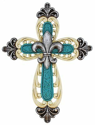 Ornate Fleur De Lis Layered Wall Cross Decorative Scrolly Details - Antique W...