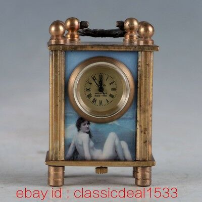 Vintage Collectible Old Chinese Brass Handwork Mechanincal Globe Clock PA1170