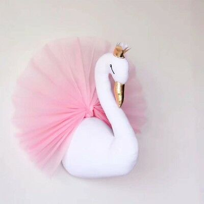 Pink Crown Swan Stuffed Toys  Hanging PP Cotton Swan Dolls for Room Wall Decor