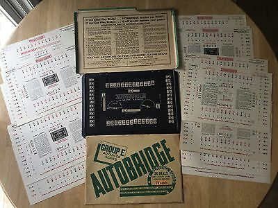 Vintage Autobridge Playing Board, Original Instructions & Deal Sheets