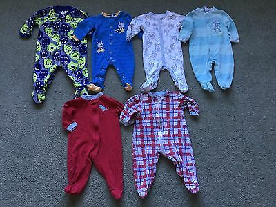 Baby Boy Sleepers Lot of 6 (Size 3-9 Months)