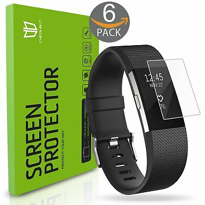 Fitbit Charge 2 Screen Protector, [6-Pack] Degbit [NO-Peeling off] [Full Coverag