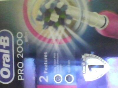 Braun Oral-B PRO 2000 PINK 3D action Electric Rechargeable Power Toothbrush
