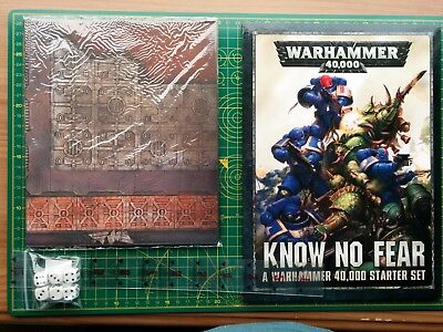 Warhammer 40K Know no fear supplement, gaming mat, scenery, dice, ruler