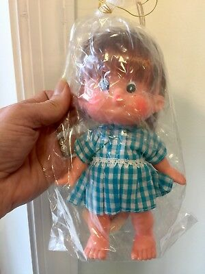 Vintage Forsum Japan Vinyl Doll with Wrapping & Tag Gingham Dress NOS
