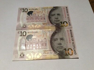 Bank Of Scotland Polymer £10 X 2 Consecutive And Uncirculated