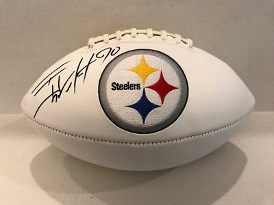 TJ WATT Signed Pittsburgh Steelers Logo Football COA/Holo Steelers #1 Pick