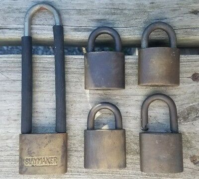 Antique Solid Brass - Wilson Bohannan Co. & Slaymaker Padlock (lot of 5)