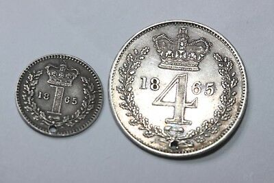 VICTORIA 1865 STIRLING SILVER MAUNDY COINS 1d & 4d all VF/EF COND. but HOLED