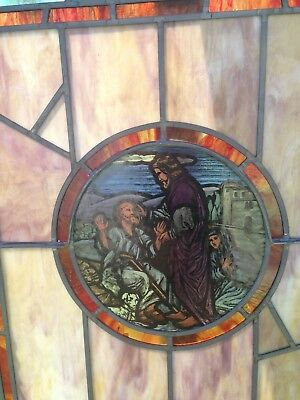 VINTAGE RELIGIOUS STAINED GLASS WINDOW Jesus heals the blind man