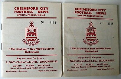Chelmsford City v Romford 1962/63 FA. Cup 4QR. & Southern Lge Cup - 2 programmes