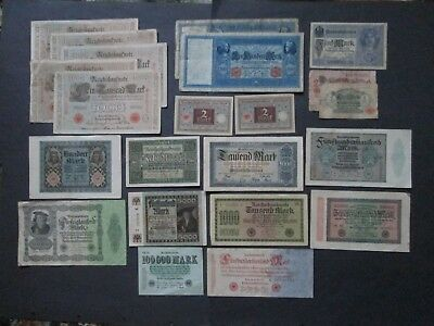 Banknotes Germany Collection 1910 to 1923  22 Notes Variable condition77