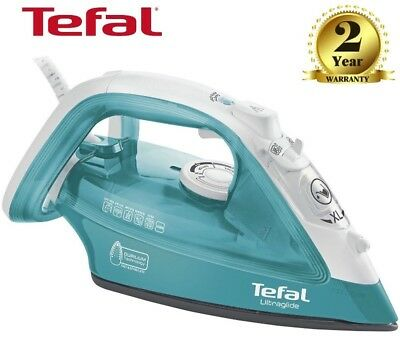 Tefal UltraGlide Steam Clothes Iron 2400W Durilium Soleplate FV4041- Turquoise