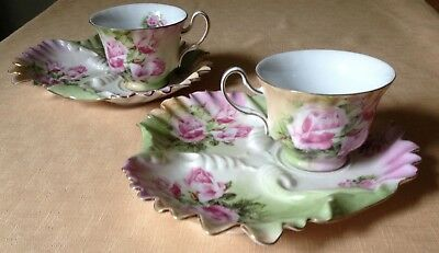 Unusual Pair Of Transfer Printed Cup And Saucer/tray In A Bourbon Rose Design
