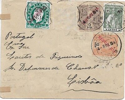 Portuguese India - 1914 Local Republica cover with one stamp missing from Quepem