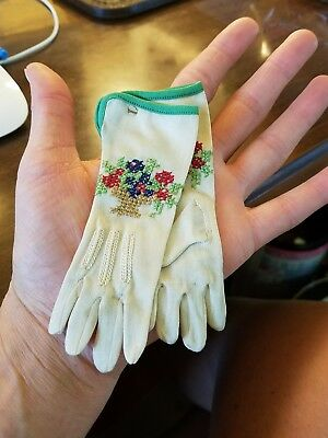 Vintage Nylon Baby or  Doll Dress Gloves Embroidered NOS