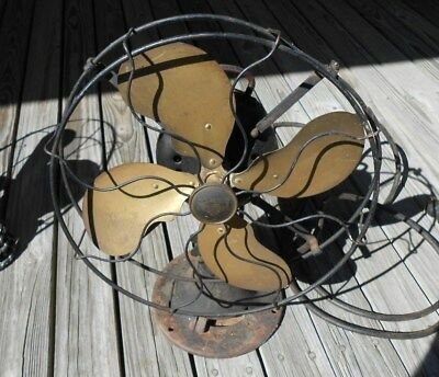 """Antique Emerson Electric Table Fan Brass Blade Vintage 14"""" W Cage 3 Speed Old"""