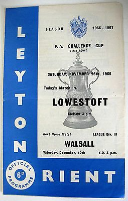 Leyton Orient v Lowestoft Town 1966/67 FA. Cup R1. programme.