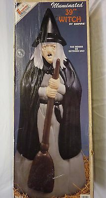 """Vintage Empire 39"""" Lighted Halloween Witch Blow Mold Outdoor Prop in Original Bo"""