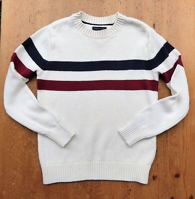 *TOMMY HILFIGER* Boys Winter White Knitted CREW NECK JUMPER 8-10y BNWOT rrp£60