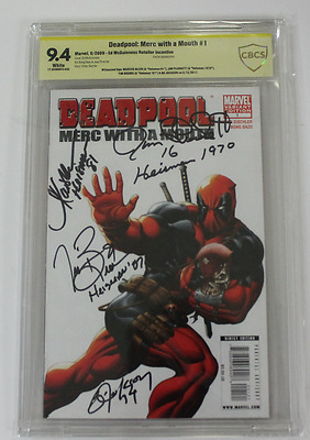 CBCS Graded 9.4 Deadpool:  Merc with a Mouth No.1, Heisman Variant, Signed by 4!