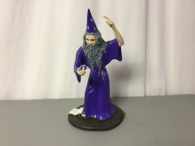 """Ceramic Wizard 14"""" Tall With Crystal Ball & Books Purple & Grey #266R"""