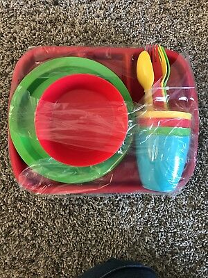Kids Plastic Dishes 4 Place Settings  - 24 pieces - Red, Blue, Green Yellow