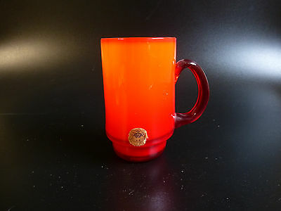Holmegaard Glas Denmark Dänemark Palet Michael Bang  Becher rot orange