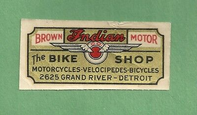 1920 Label THE BIKE SHOP BROWN MOTOR INDIAN MOTORCYCLES Velocipedes Bicycles