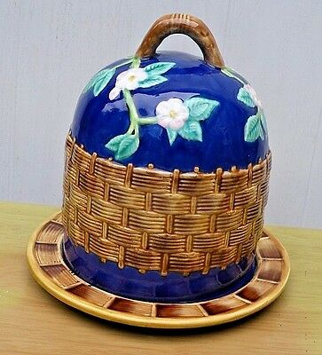 George Jones (?)  Majolica Weaved Basket Cheese Dome Cover And Cheese Plate