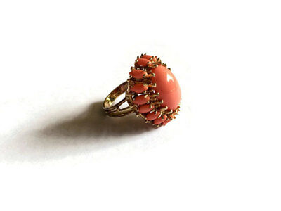 Vintage Panetta Sterling Coral Cabochon Cocktail Ring