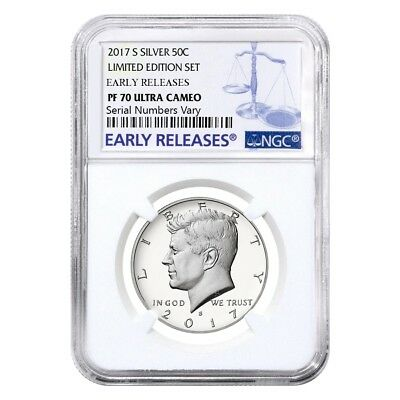 2017 S Proof Silver Kennedy Half Dollar Limited Edition NGC PF 70 ER