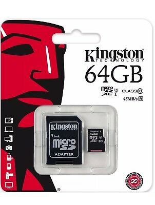 Kingston 64gb Micro SD SDXC card Class10 with SD adapter, Retail Pack