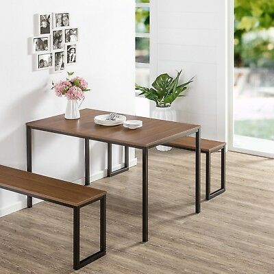 Modern Wood Dining Table with Metal Legs 2 Benches set For 4 Patio Kitchen Room