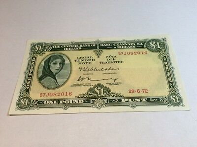 Stunning Central Bank Of Ireland Lady Lavery £1 Issued 1972