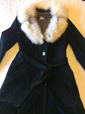 Cosa Nova Vintage Black Suede Ladies Coat with Genuine Fox Fur Collar