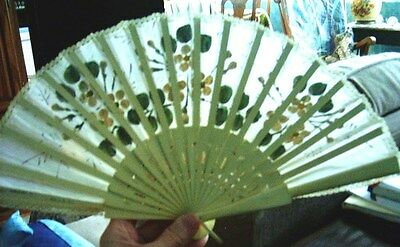 Asian Wood, Hand Painted and Silk Hand Fan - 12in wide