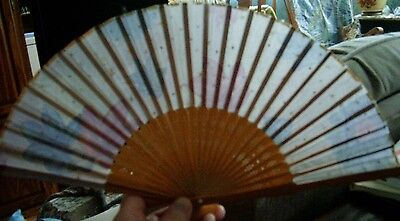 Asian Bamboo and Silk Hand Fan - 11in wide