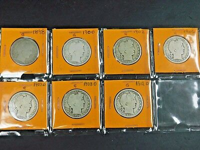 Lot of (7) Barber Half Dollars! See Listing For Details, AUCTION!
