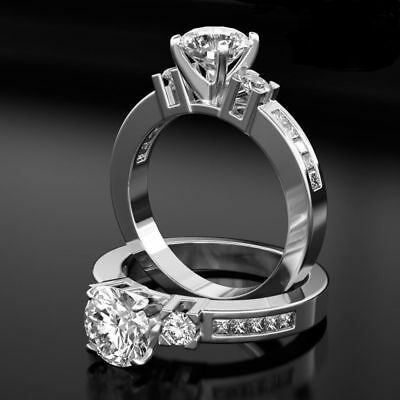Vs1 1.95 Ct Solitaire Round Accented Proposal Diamond 18K White Gold Ring Sz 8