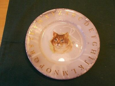 Late 1800S Early 1900S Child's Alphabet Plate With Cat Transferware Very Cute