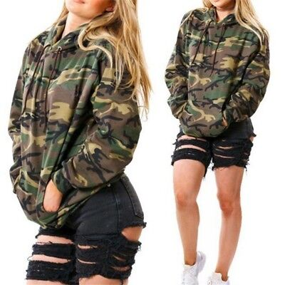 US Women Winter Camo Hoodie Sweatshirt Sweater Casual Hooded Coat Pullover Tops