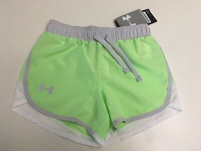 New! Under Armour Youth Girls Heatgear Shorts Lime Green Size YXS MSRP:$24.99