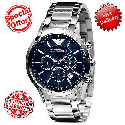 Emporio Armani Mens Blue Dial Stainless Steel Classic Chronograph Watch Ar2448